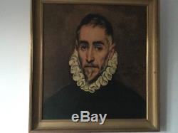 Ancien tableau, portrait d. Homme huile sur panneau 19eme