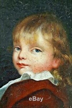 Ancien tableau portrait d'enfant XVIII XIX ème huile sur toile ecole française