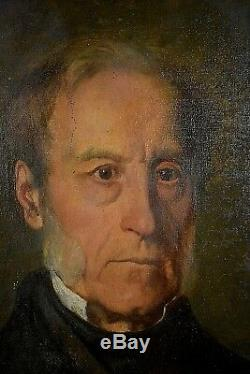 Ancien tableau portrait d'homme aux rouflaquettes signé Alphonse Dadure Empire