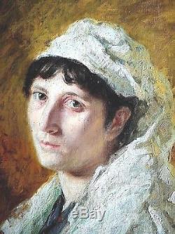 Ancien tableau portrait de dame école Italienne fin XIXème début XXème siècle