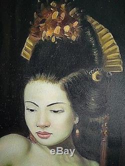 Ancien tableau, portrait de femme asiatique Geisha seins Nu signé érotisme XXème