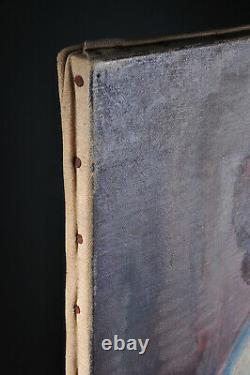 Ancien tableau portrait femme Pierre Langlade 1960 Old painting woman hst