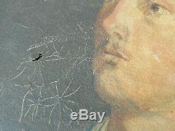 Ancien tableau portrait soldat zouave 1882 huile toile P. LECUIT (Paul)