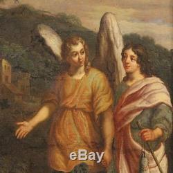 Ancien tableau religieux peinture huile sur toile avec cadre art sacré 700