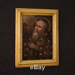 Ancien tableau religieux peinture huile sur toile saint 1700 art sacré italien