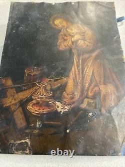 Ancien tableau religieux peinture sur Cuivre