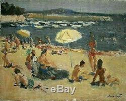 Ancien tableau scène de plage animée Cannes signé Marius WOULFART (1905-1991) XX