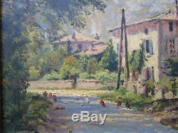Ancien tableau signé André Albertin 1923 Fontaine chemin de l'abbaye Grenoble