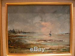 Ancien tableau stephane gourjon port de bretagne huile sur panneau isorel marine