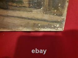 Ancien tableau vue de ville, huile sur toile