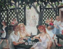 Ancien très beau tableau guinguette restaurant café Paris vers 1940 huile signée
