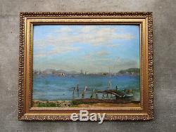 Ancien très beau tableau marine La rade de Toulon bateaux militaires, non signé