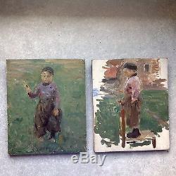 Ancienne Huile Sur Panneau Portrait Tableau Enfant