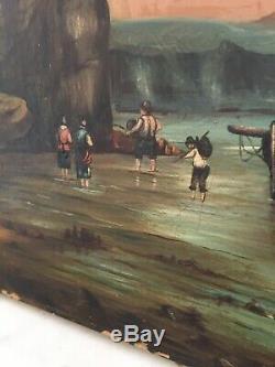 Ancienne Huile toile peinture tableau MARINE Bateaux MER signée XIX 19TH PORT
