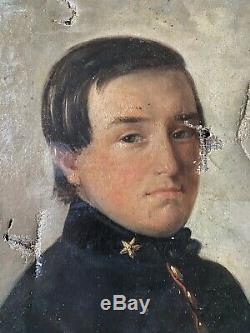 Ancienne Huile toile peinture tableau PORTRAIT A RESTAURER XIX 19TH
