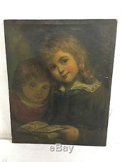 Ancienne Peinture HST huile sur TOILE XIX 19 vue Enfants ancien tableau freres