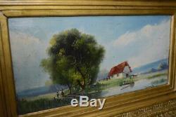 Ancienne huile sur panneau Trybarde peinture tableau paysage XIX XX