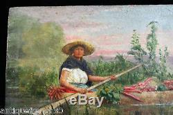 Ancienne huile sur panneau XIXe, non signé. Femme barque peinture tableau