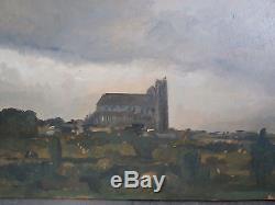 Ancienne huile sur panneau cathédrale de Bourges Cher peinture painting tableau