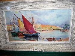 Ancienne marine huile sur panneau tableau avec port et des bateaux signé Wiest