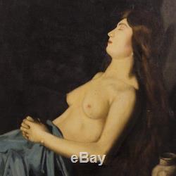 Ancienne peinture religieuse tableau Marie Madeleine huile sur toile signé 800