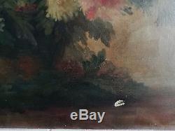 Anciens tableaux, paire de Nature morte, Fleurs, signé Guilbert. A, fin XIXème 25F