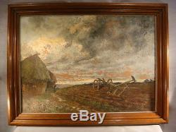 André HARDY ANCIEN GRAND TABLEAU HUILE PAYSAGE CAMPAGNE