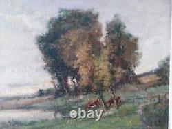 André Des fontaines vaches pastorale paysage pâturage Tableau ancien Normandie