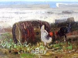 André Maglione (Français, 1838-1923) Ancien Tableau Peinture Huile Oil Painting