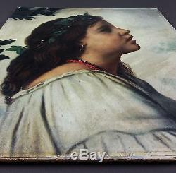 Anna Gerardi Ancien Tableau Peinture Huile Original Antique Oil Painting Vintage