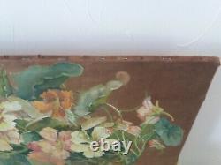 Art Nouveau Tableau Ancien Bouquet de Capucines. Nature morte 1923 Signé