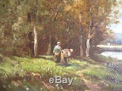 Au bord de l'eau Tableau ancien Ad. LELEUX (n°1) Barbizon Impressionniste Corot