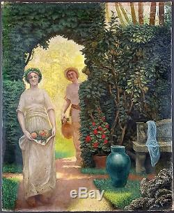 Auguste Gorguet (Français, 1862-1927) Ancien Tableau Peinture Huile Original