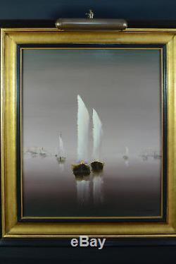 BEAU TABLEAU Ancien Marine Honfleur signé Louis Lamarque Bateaux Port paysage