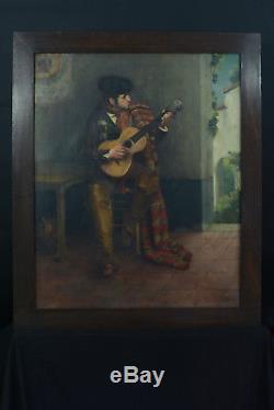 BEAU TABLEAU Ancien Portrait d'homme à la Guitare Flamenco Seville dlg Dyf 1900