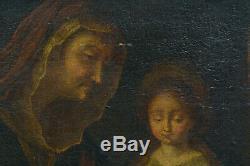 Beau TABLEAU ANCIEN 17ème Religieux portrait L'éducation de La vierge ste Anne