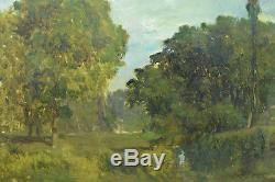 Beau Tableau Ancien Bord de Rivière étang arboré Emile Lambinet Bougival 19 éme