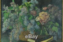 Beau Tableau Ancien Bouquet de fleurs Lilas Nature morte livre art nouveau 1900
