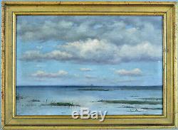 Beau Tableau Ancien Etude de Ciel Paysage Ocean Bord de mer Bordeaux Marine 19e