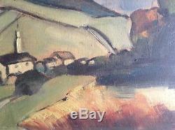 Beau Tableau Ancien Expressionnisme Paysage Montagne Chartreuse Huile signée