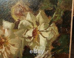 Beau Tableau Ancien Huile Toile Bouquet de Fleurs Milieu XIXe signé BELOT