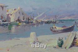 Beau Tableau Ancien Impressionniste Provençal Malfroy Vue Village Marché Port