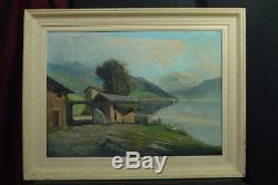 Beau Tableau Ancien Paysage De Montagne Signé Carlo Casati Maison Lac Léman