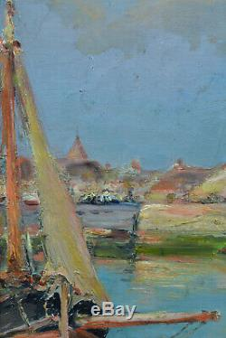 Beau Tableau Ancien Paysage Marine Bateau au Port Bordeaux Gaston Guignard 19e