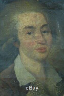 Beau Tableau Ancien Portait de jeune homme Artiste école française 1780 cadre