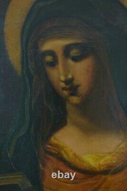 Beau Tableau Ancien Portrait de Vierge au livre Annonciation Auréole Cadre doré