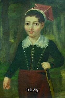 Beau Tableau Ancien Portrait jeune Garçon Uniforme Empire sabre Boissier 1824