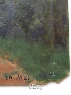 Beau Tableau Ancien Post Impressionniste Paysage au Château Huile signée c1907