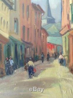 Beau Tableau Ancien Postimpressionniste Rue de Village Animé Huile Toile Signée