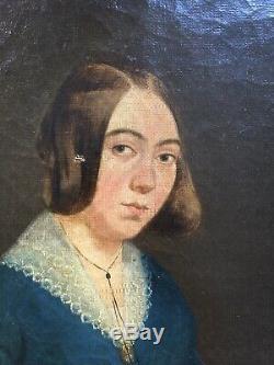 Beau Tableau Ancien XIXe Portrait Femme Elégante Camée Robe Bleu Daté Signature